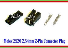 MOLEX 2520 2.54mm 2-Pin Male Right Angle, Female Lock Connector, Crimp x 10 Sets