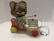 FISHER PRICE #738 VINTAGE SHAGGY ZILO PULL TOY TEDDY BEAR XYLOPHONE DRUM-EX!