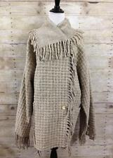 Cilantro Made in Peru Heavy Wool Poncho Beige Sweater Coat Size M Lagenlook