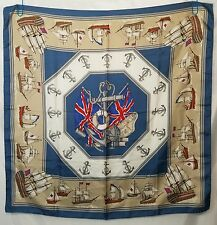 Vintage Burberrys 100% Silk Scarf British Flags Nautical Ships & Anchors