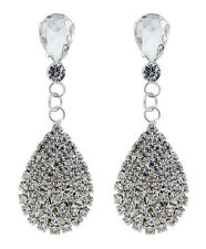 CLIP ON EARRINGS - silver plated crystal teardrop chandelier earring - Enya