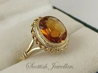 Vintage 9ct Gold Ring Set With An Oval Citrine Stone Hallmarked 1973 UK Size N½