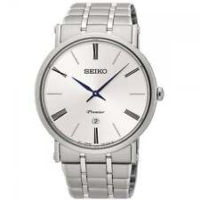 Mens New Seiko Premier Ultra Slim Case Steel Dress Watch SKP391 Rp£299