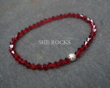 RED CRYSTAL STRETCH BRACELET STERLING SILVER RUBY BEADED HANDMADE DESIGNER GIFT