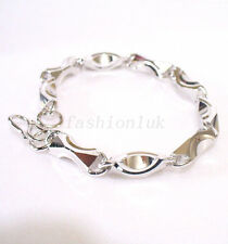 White Gold Plated Xmas Birthday Wedding Big men Chuncky Heavy 3D Shape Bracelet