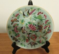Antique Chinese Famille Rose Celadon Plate butterflies and birds 19th