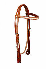 Western Natural BrowBand Style Headstall with Natural Rawhide Braiding