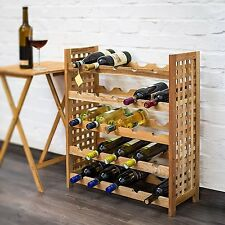 5 TIER Walnut Wood Wine Rack For 25 Bottles Wooden Stand Station Shelf Standing