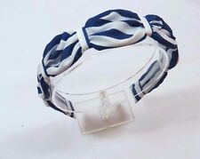 Womens Classic Blue White striped Fabric covered scalloped hard headband