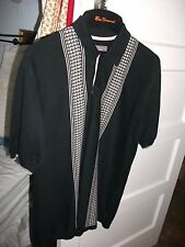 BEN SHERMAN - Long Sleeve Knitted 3 Button Polo Two Tone Ska Mod Skinhead XL