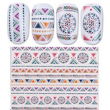 Nail Water Decal Manicure Transfer Sticker Vintage Ethnic Totem Triangle Pattern