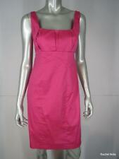 CALVIN KLEIN 6P Raspberry Pink Cotton Pleated Sleeveless Sheath Dress S Petite
