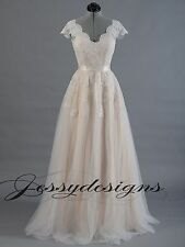 Champagne Tulle Lace A-line Wedding dress V-Neck Cap Sleeves Gown Bridal Dress