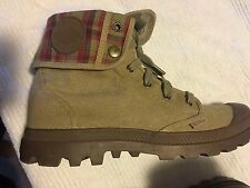 Palladium Baggy Boots Khaki Canvas Plaid Fold Down Men's 11.5