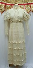 Vtg 70s Emma Domb Cream Floral Lace Victorian Wedding Gown Dress Festi SM MINT