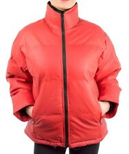 LADIES RED PADDED ZIP FRONT & ZIPPED POCKET WATER PROOF PU PUFFER JACKET 14-16