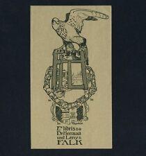 """Exlibris Bookplate * FERDINAND GÖTZ * Jugendstil Falke Haus """"Im Hagedorn"""" Falcon"""