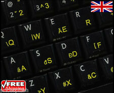 Hungarian Transparent Keyboard Stickers With Yellow Letters For Laptop Computer