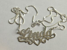 Silver LINDA Name PERSONALIZE Necklace Pendant CHAIN Initials Charm Lett