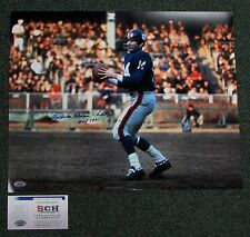 "Y.A. Tittle Signed Giants Color Passing 16x20 Photo W/""HOF 71"" + FULLNAME  SCH"