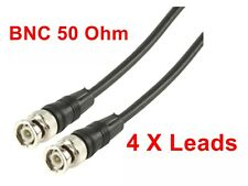 Pack Of 4,  Cable BNC Male  Plug To Plug  Lead 2 Mtr 50 Ohm CCTV Video  RF