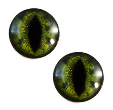 Pair of 25mm Green Alligator Glass Eyes for Jewelry or Taxidermy Doll Making