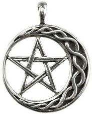 Wiccan Pentagram on Moon for Stability Pendant with Black Corded Necklace …