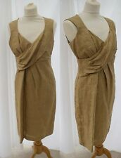 Gold ALEXON Dress 10 Wedding Guest Party Evening Do Prom Cruise Rouched Wrap