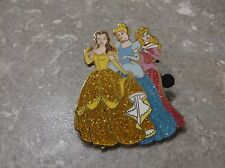 DISNEY STORE EUROPE PIN BELLE CINDERELLA AND AURORA SPARKLE GLITTER GOWNS HTF