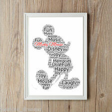 Personalised Mickey Mouse A4 Word Art Gift Keepsake Birthday Children