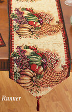 Eye-Catching AUTUMN Cornucopia TAPESTRY TABLE RUNNER, NEW!