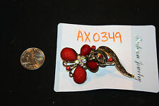 NEW Crimson Red Stone & Crystals Butterfly Pin / Brooch   #Bb-AX0394A