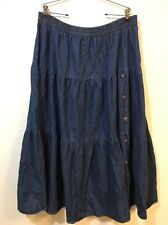 Southwest Canyon Womens 2XL-3XL Long Modest Tiered Blue Denim Skirt