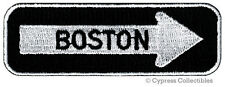 ONE-WAY SIGN PATCH BOSTON MASSACHUSETTS EMBROIDERED iron-on EMBLEM APPLIQUE new