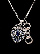 Blue Police Shield Badge Handcuffs Gift For Officer LEO Charm Necklace