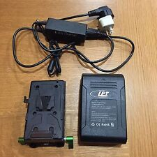 Lanparte VB-150 V-Mount Li-Ion Battery + 15mm Rod Plate Adapter Charger Used