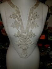 Ivory arabian moroccan embroidered patch lace YOKE chest applique motif collar