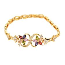 Gold Plated Romantic AAA+ CZ Twin Star Womens Charm Bracelet  Bangle party Gift