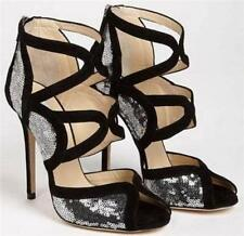 JIMMY CHOO Black Sequin Sandals Heels Ankle Boots EU40 UK7