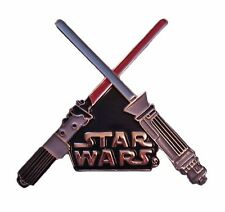 Star Wars Series Red and Blue Crossed Lightsabers and Logo Pin