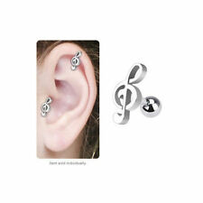 Music Note Body Jewelry Cartilage Tragus Stud Earring 16g 6mm silver