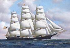FLYING CLOUD US AMERICAN CLIPPER SHIP AT SEA OIL PAINTING LARGE POSTER PRINT