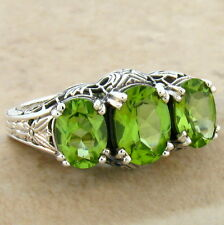 GENUINE PERIDOT 3 STONE 925 STERLING SILVER ART DECO RING SIZE 9,           #370