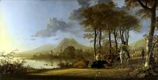 River Landscape with Horseman & Cattle Picture by Cuyp Fine Art Print New Poster