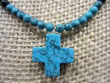 Stunning Blue Turquoise/Onyx or Not Beaded Cross Necklace/Pendant 24 IN=16g