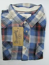Roebuck co Flannel Shirt Young Mens Size  XXL  nwt  Camp Western blue plaid