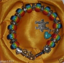 "Autism  Rainbow beaded Faux Leather puzzle piece charm Blue bracelet 7.9""-9"""