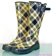 Sperry Pelican Rain Boots Womens Topsider Plaid Tall Waders Black Waterproof 9