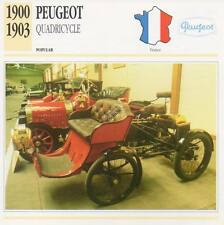 1900-1903 PEUGEOT Quadricycle Classic Car Photograph / Information Maxi Card