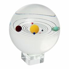 Orrery Model Solar System Inside Giant 80mm  Glass Marble - With crystal stand